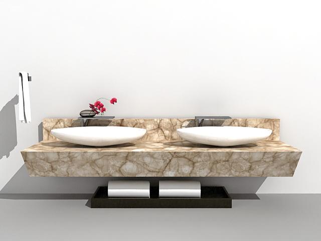 Double sink marble bathroom vanity 3d rendering