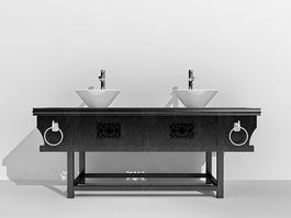 Chinese antique bathroom vanity with sink 3d model preview