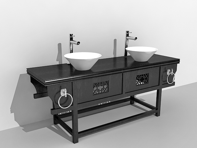 Chinese antique bathroom vanity with sink 3d model 3ds Max ...