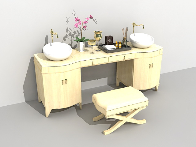 Bathroom vanity with sink and makeup table 3d rendering