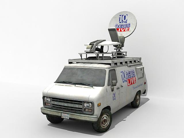 TV News van 3d rendering