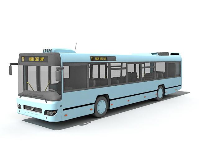 Modern transit bus 3d rendering