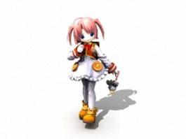 Anime school girl 3d model preview
