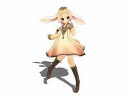 Elf anime girl 3d model preview