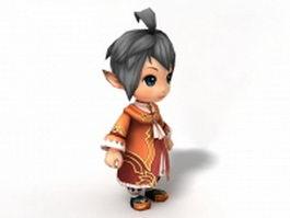 Cute anime boy 3d model preview
