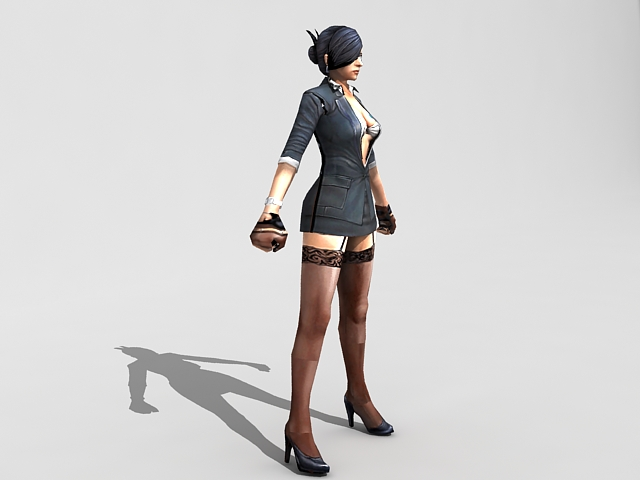 Sexy female spy agent rigged 3d rendering