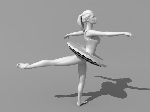 Female ballet dancer 3d rendering