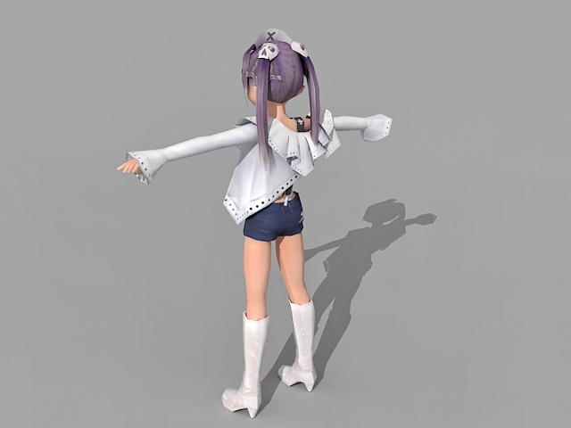 Anime Blonde Woman 3d model 3ds Max files free download