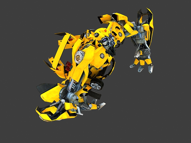 Transformers Bumblebee animated 3d rendering