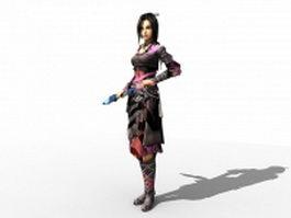 Female Swordsman 3d model preview