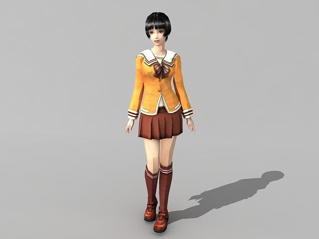High school girl anime 3d rendering