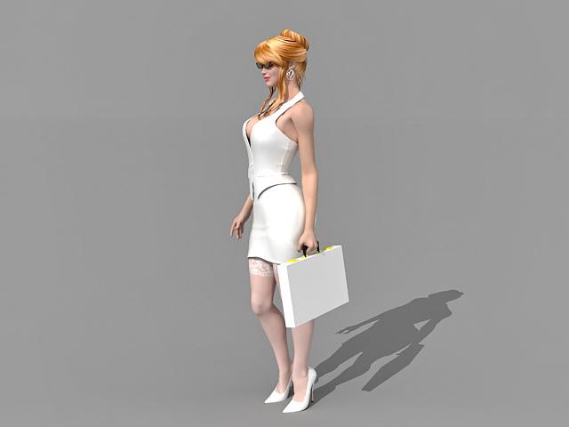 Hot sexy secretary 3d rendering