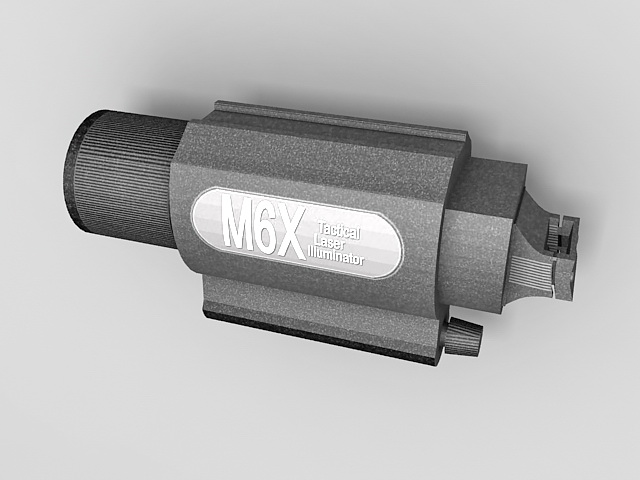 M6x tactical laser illuminator 3d rendering