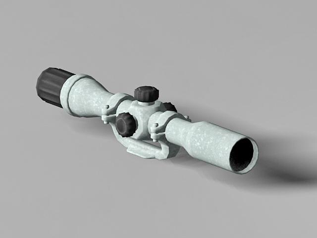 Telescopic sight rifle scope 3d rendering