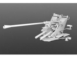 Flak 37 German artillery 3d model preview