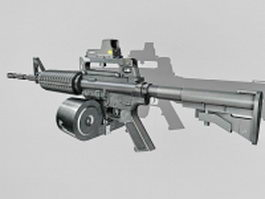 M4A1 with double-drum magazine 3d preview