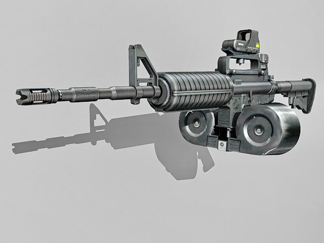 M4A1 with double-drum magazine 3d rendering