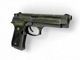 Beretta M9 semiautomatic pistol 3d model preview