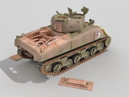 M4A1 Sherman tank wrecks 3d model preview