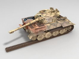WW2 German tiger tank destroyed 3d model preview