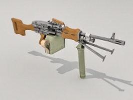 Car mounted machine gun 3d model preview