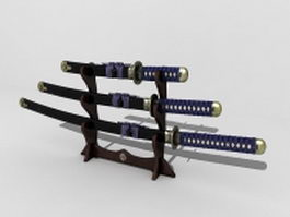 Katana Japanese swords 3d preview