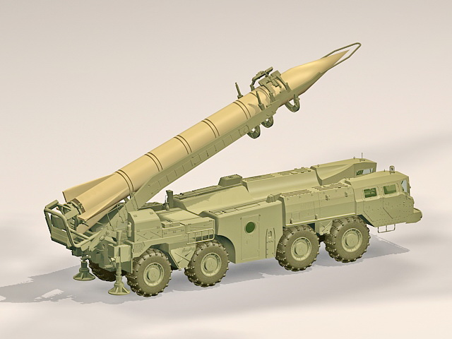 Scud missile weapon 3d rendering