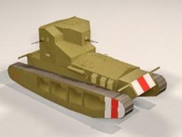 WW1 whippet tank 3d model preview