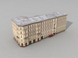Ostozhenka apartment building 3d model preview
