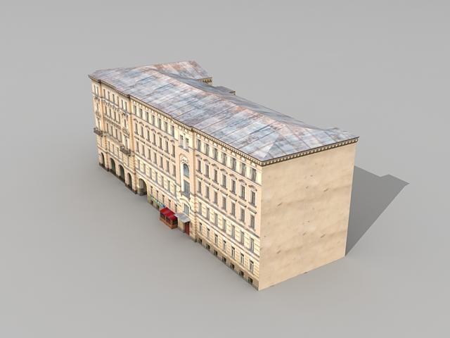 Ostozhenka apartment building 3d rendering