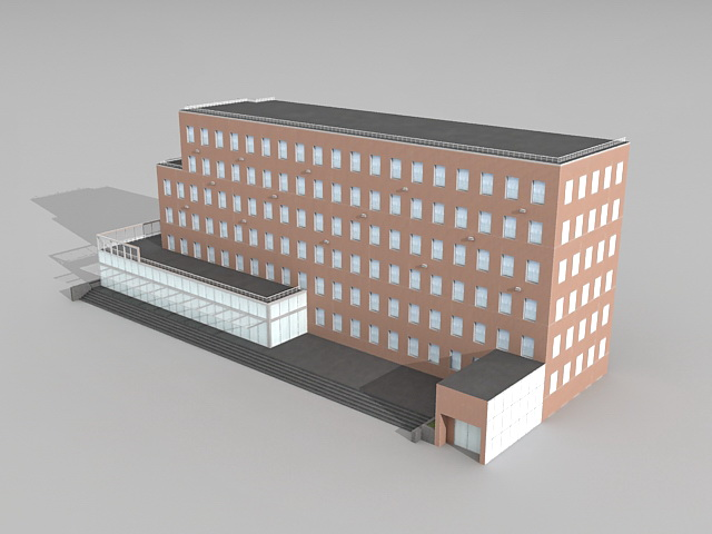University library architecture 3d rendering