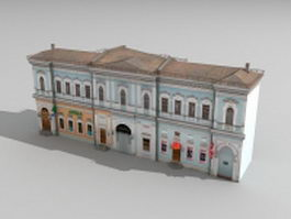 Old Russian commercial district building 3d preview