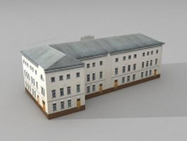L shaped apartment building 3d model preview