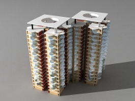 Residential tower 3d model preview
