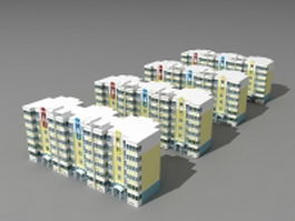Residential community buildings 3d preview
