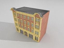 Brick apartment building 3d model preview