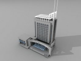 China bank building 3d model preview