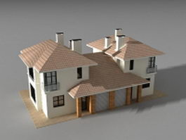 Detached link house 3d preview