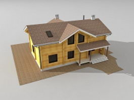 Country wooden house 3d preview