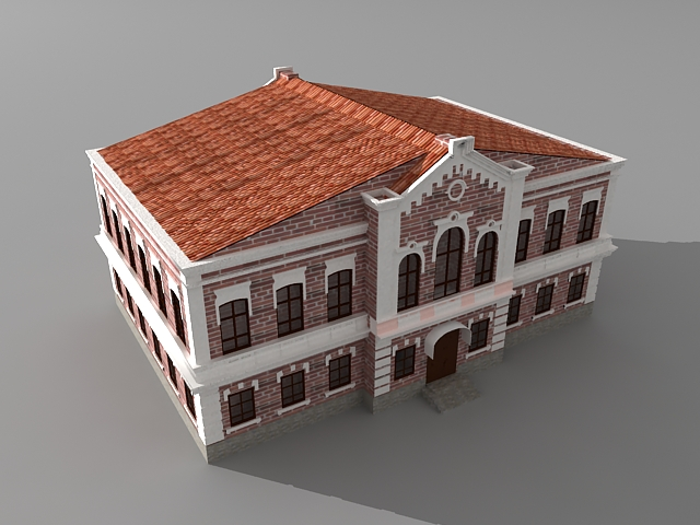 Red brick church 3d rendering