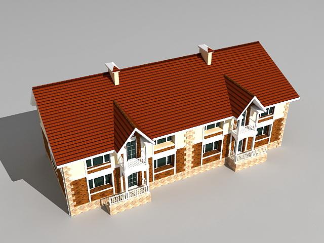 Victorian terraced house 3d rendering