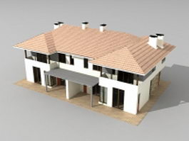 Townhouse with garage 3d preview