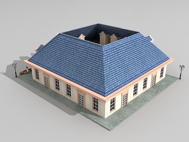 Victorian houses on street 3d rendering