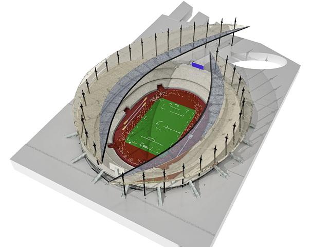Modern football stadium 3d rendering