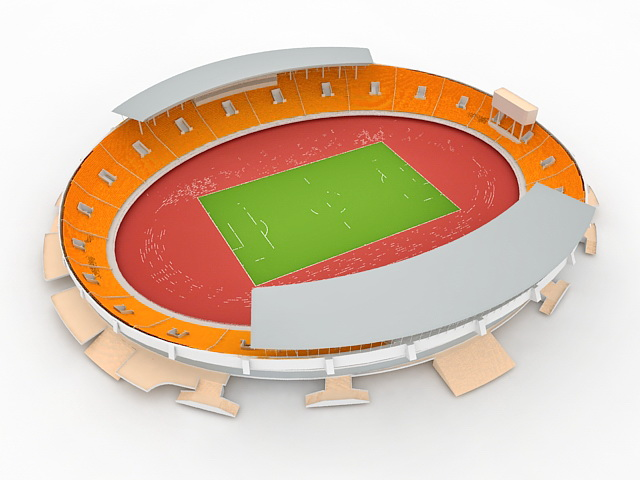 Track and field stadium 3d rendering