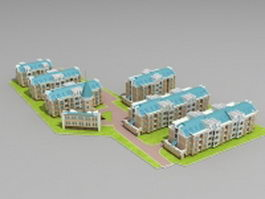 Residential community apartments 3d preview