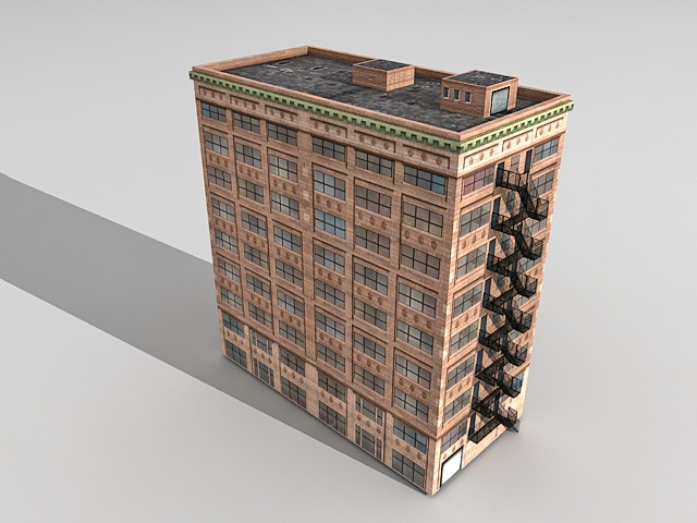 Old office building 3d rendering