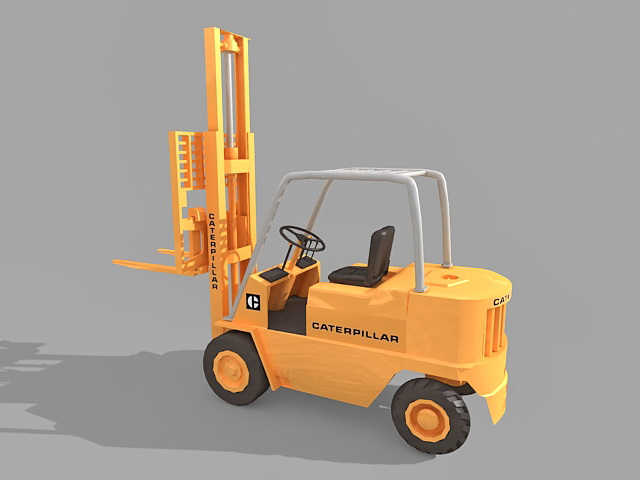 Industrial forklift truck 3d rendering