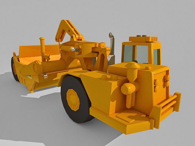 Wheel elevating scraper 3d rendering