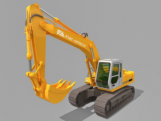 Fiat-Hitachi excavator 3d rendering